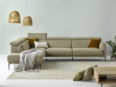 Canapé d'angle design avec tétières Lys personnalisable