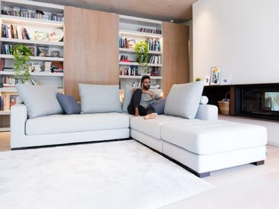 Canapé angle tissu gris clair contemporain Fama Manacor