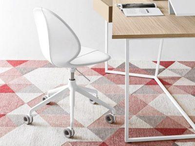 Chaise de bureau design blanche feuille Calligaris Basil