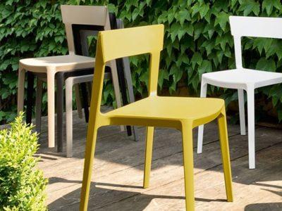 Chaise de cuisine jaune blanche taupe design Calligaris Skin