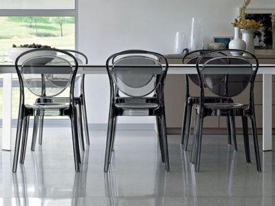 Chaise transparente design gris Calligaris Parisienne