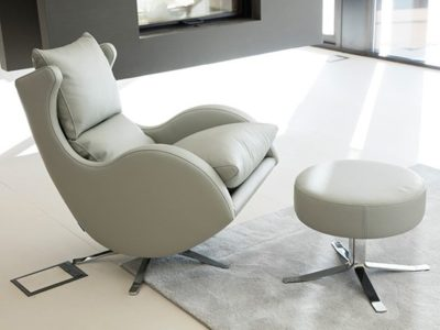 Fauteuil cocooning cuir gris Fama Lenny