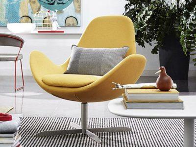 Fauteuil jaune design pivotant Calligaris Electa