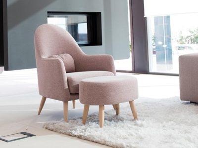 Fauteuil lounge tissu rose Fama Miranda
