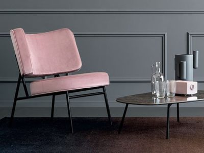 Fauteuil rose années 50 Calligaris Coco