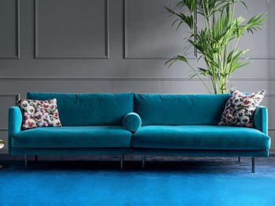 Grand canapé design velours bleu Calligaris Mies