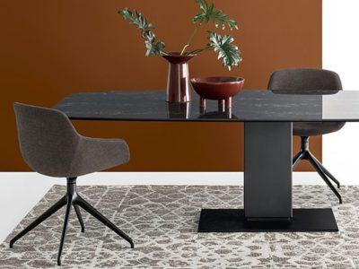 table pied central plateau céramique marbre design Calligaris Echo