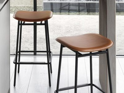Tabouret de bar design année 50 cuir Calligaris Fifties