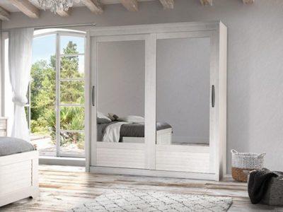 Armoire blanche 2 portes coulissantes miroir ferme Célio Olivia