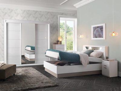 Armoire chambre blanche 3 portes coulissantes Célio Multy