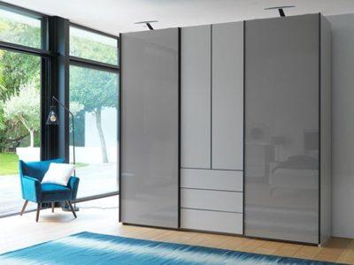Armoire design laqué gris Célio Perla