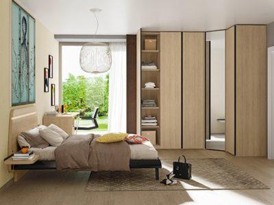 Armoire design portes battantes bois miroir Célio Optima