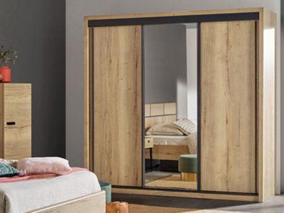 Armoire industrielle 3 portes coulissantes bois miroir Célio Eiffel