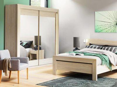 Armoire miroir portes coulissantes bois clair Célio Cosy