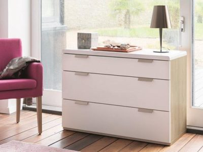 Commode 3 tiroirs style scandinave bois laqué blanc Célio loft