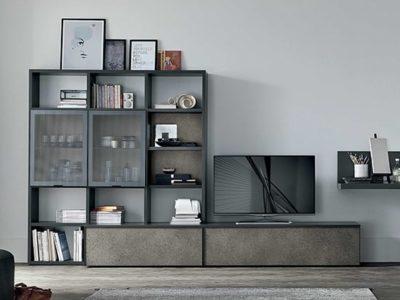 Composition meuble TV vitrine A129