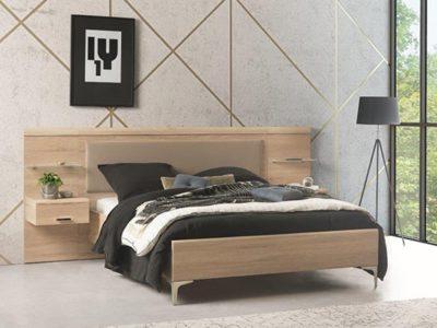 Lit 2 places en bois clair tête de lit débordante Célio Multy