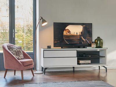 Meuble TV moderne blanc Célio Urban