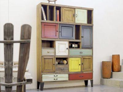 Meuble de bibliothèque vintage couleurs Story