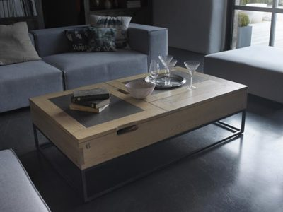 Table basse bar relevable industrielle Charme