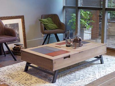 Table basse coffre bar bois rectangulaire Pass
