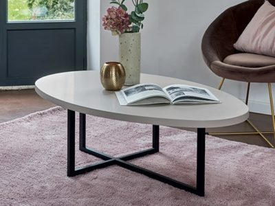 Table basse ovale blanche moderne Célio Urban