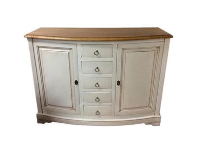Bahut blanc 2 portes et 5 tiroirs