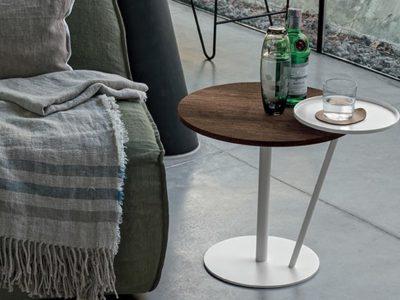 Bout de canapé rond bois métal personnalisable Eclisse