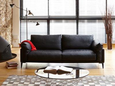 Canapé 3 places cuir noir Burov - Beaubourg