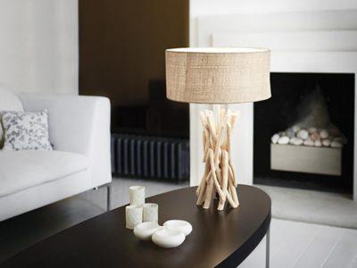 Lampe bois flotté abat jour beige Wood ambiance