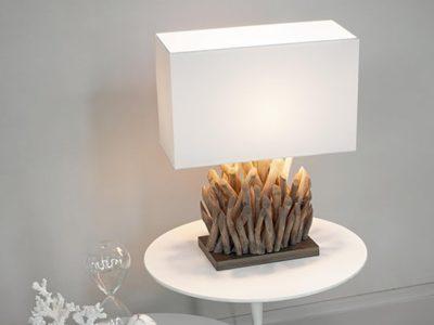 Lampe en bois flotté abat jour blanc Snell