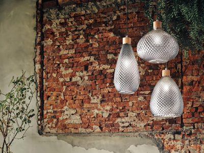 Lampe suspension en verre vintage Berg ambiance