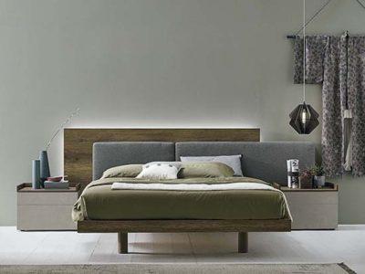 Lit avec tête de lit débordante bois et tissu Halifax