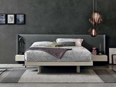 Lit avec tête de lit débordante grise personnalisable Fusion