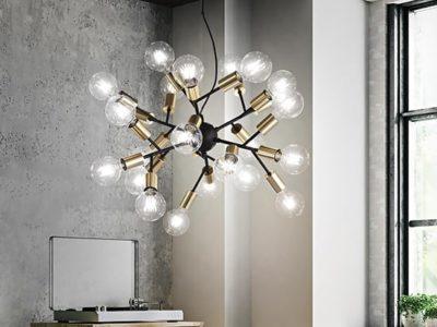Lustre ampoule noir et doré design Spar ambiance
