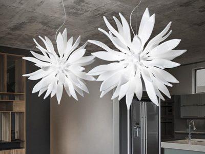 Lustre cuisine blanc design Leav ambiance
