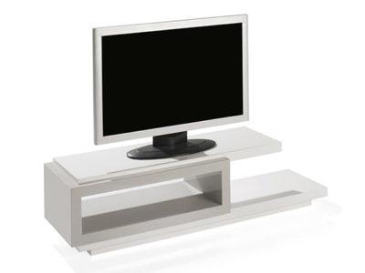 Meuble TV laque blanche et grise - Boston