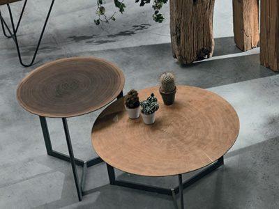 Table basse bois métal effet tronc d'arbre Joy wood