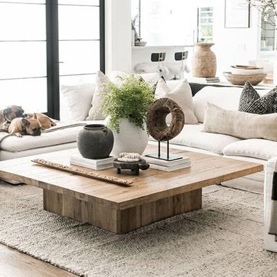 Table basse en bois carrée Meubles Bouchiquet