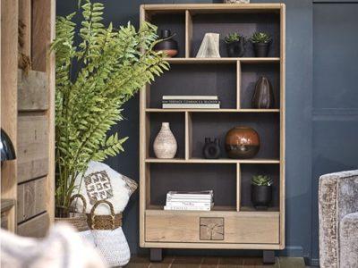 Bibliothèque meuble bois style nature Eden