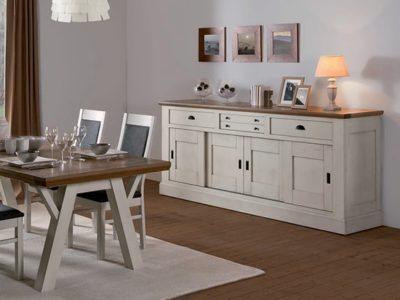 Buffet campagnard en bois blanc Romance salle à manger