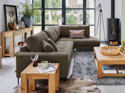 Canapé d'angle tissu assise matelassée Color