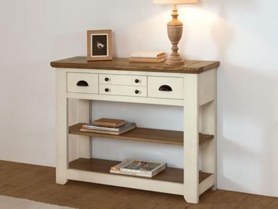 Console meuble blanc style campagne chic Romance