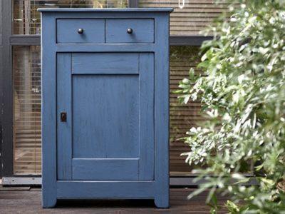 Meuble d'entrée bois bleu personnalisable Zoé