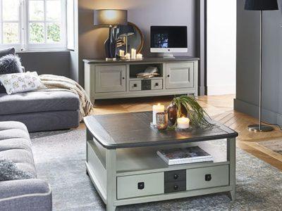 Meuble TV blanc et bois personnalisable Séraphine