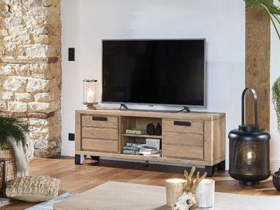 Meuble TV bois métal style industriel Nature Hudson