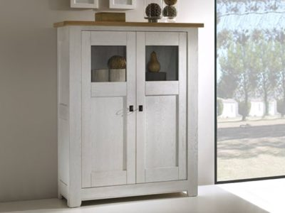Meuble vitrine blanc style campagne chic Withney