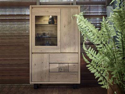 Meuble vitrine en bois style nature Eden