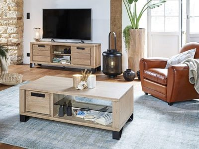 Table basse bois métal style industriel nature Hudson