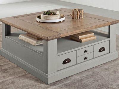 Table basse carré en bois style campagne chic Romance